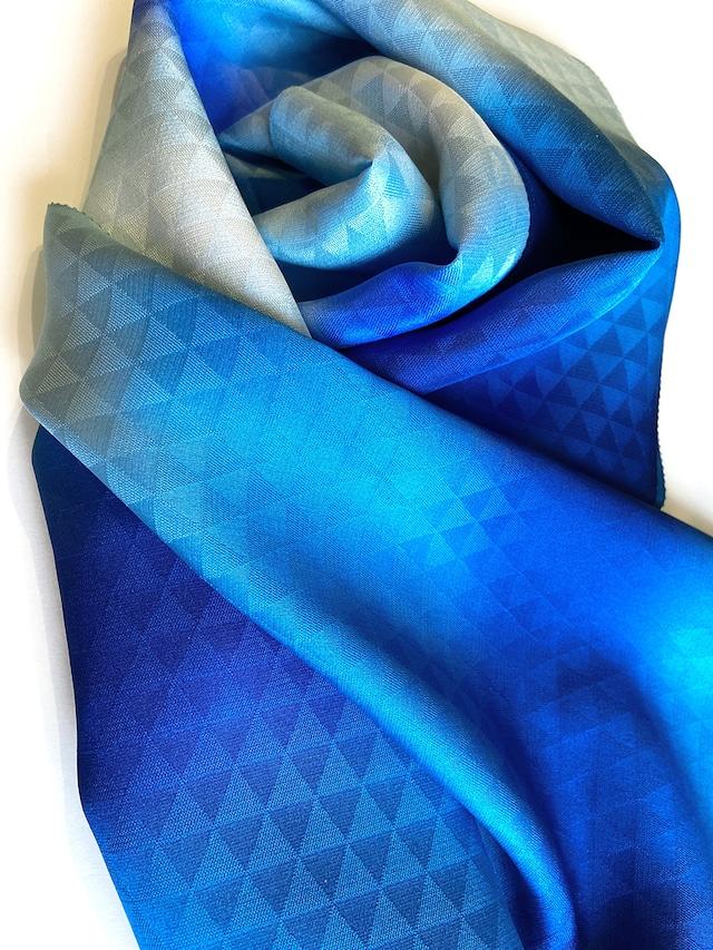 着物スカーフ Kimono scarf (丹後ブルー)