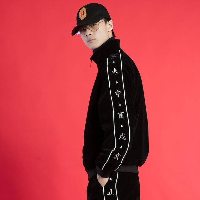 【原尉シリーズ】★セットアップ 「単品注文」★ジャケット+ズボン メンズ ベルベット 刺繍 男女兼用 スポーツ風 大きいサイズ 黒