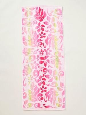 ≪再入荷≫【kahiko/カヒコ】ハワイアンフラワーフェイスタオル フラレッスンの時に使いたい♪ ふわふわ ピンク