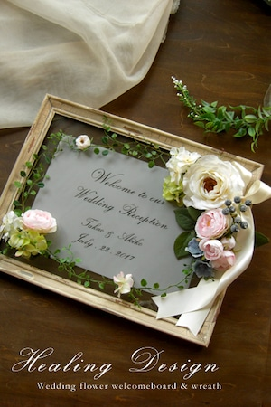 結婚式 ウェルカムボード(シャビーホワイトフレーム&ホワイト&ピンクフラワー)ガーデンウェディング ナチュラルウェディング