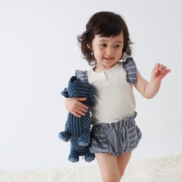 【ベビー服】マリンフリルTOPS / ムスカリ(エクリュ×ブルー) / 80.90サイズ