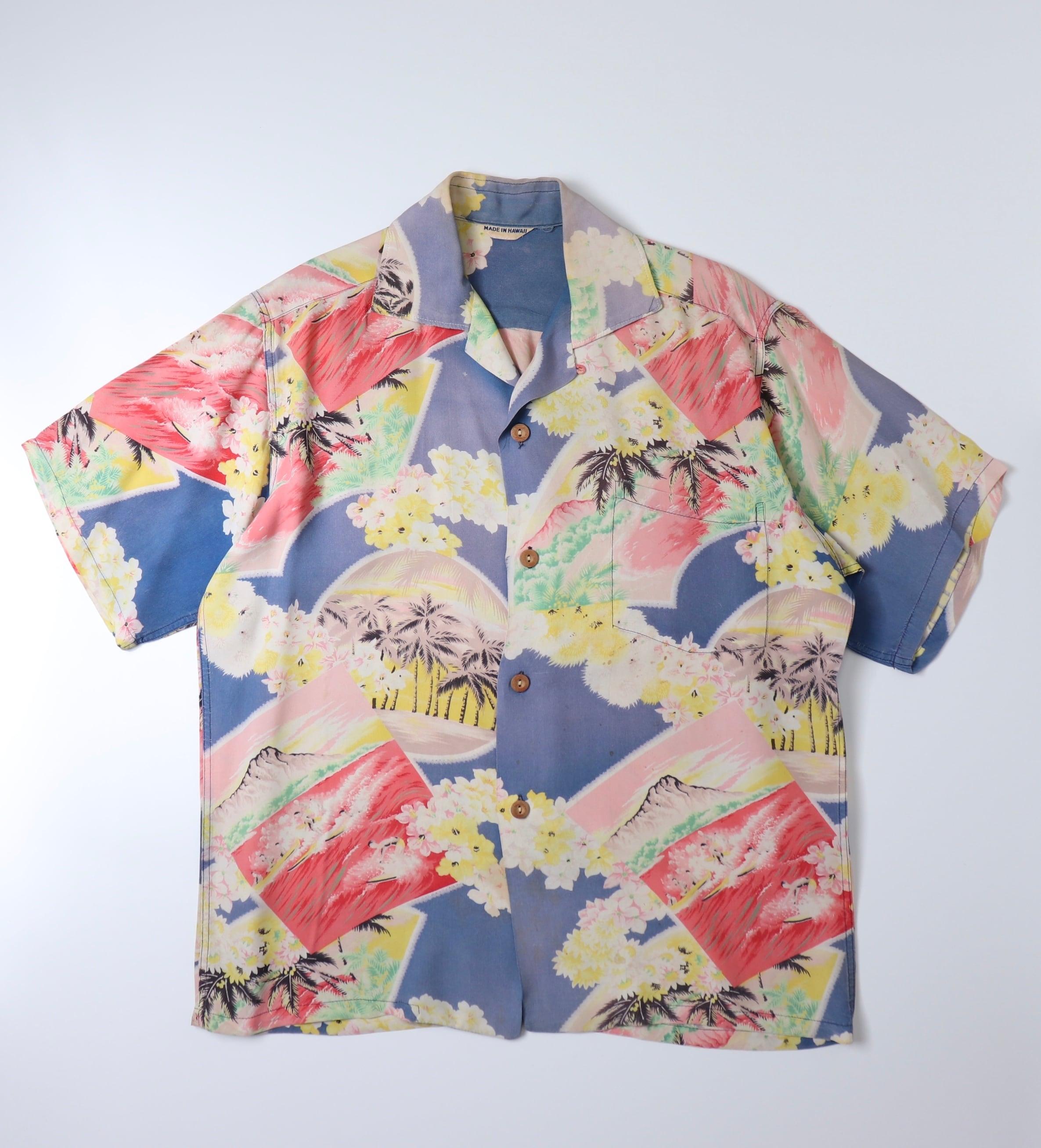 50s Aloha shirts 50年代 ヴィンテージ レーヨン アロハシャツ A767