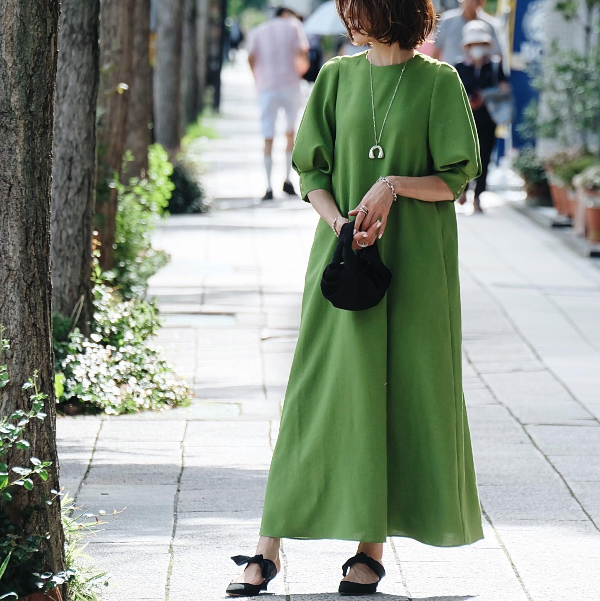 KU-UM×chika バルーンスリーブワンピース グリーン