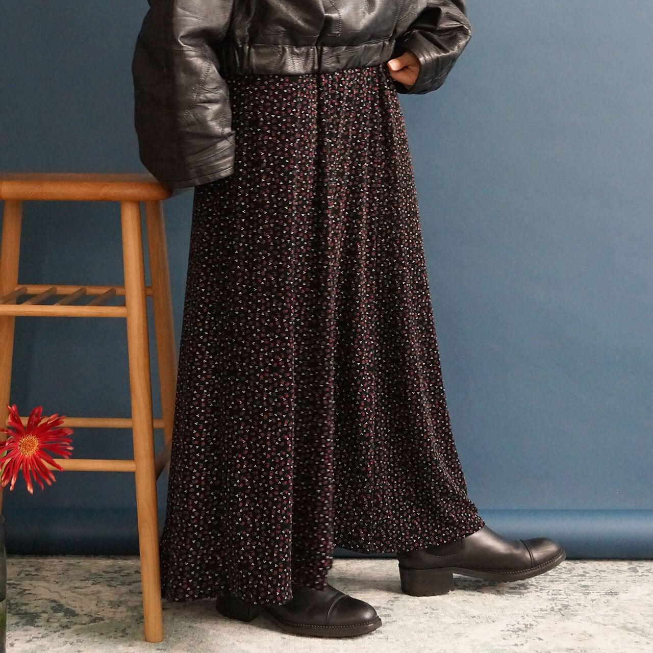 【送料無料】80's Vintage Black Flower Print Maxi Skirt