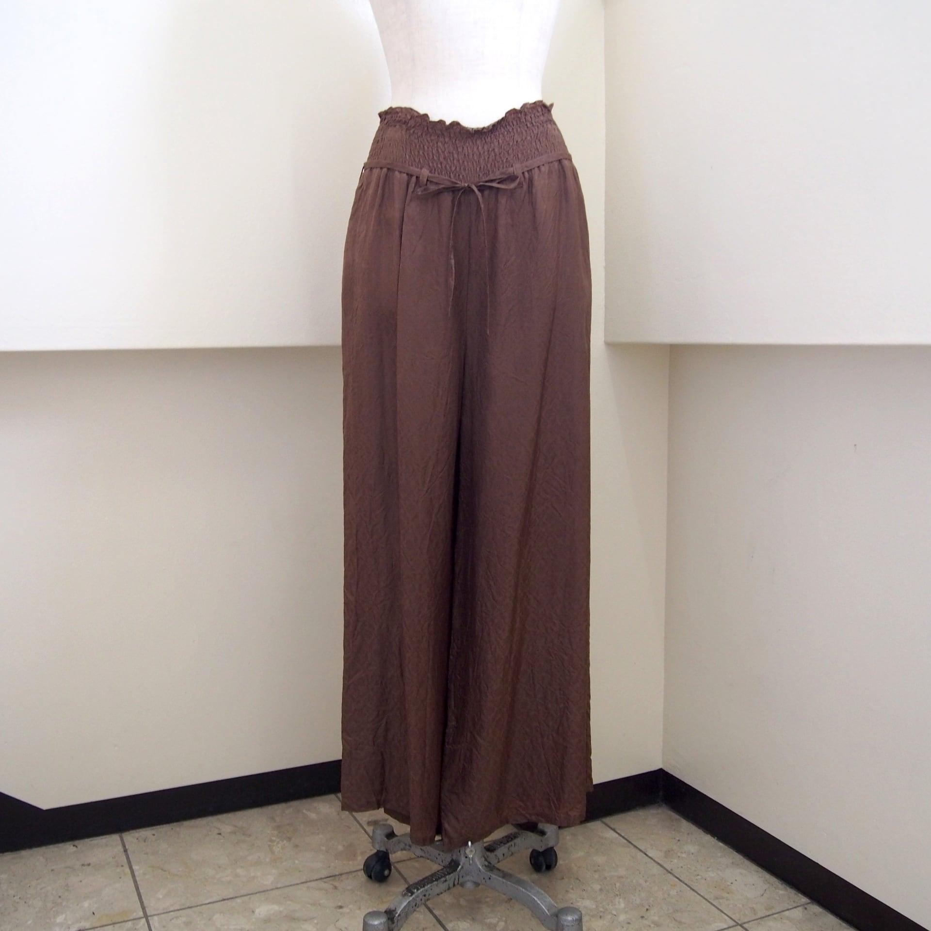 【hippiness】cupro shirring pants (Jacquard5brown) /【ヒッピネス】キュプラシャーリングパンツ(ジャガード5ブラウン)