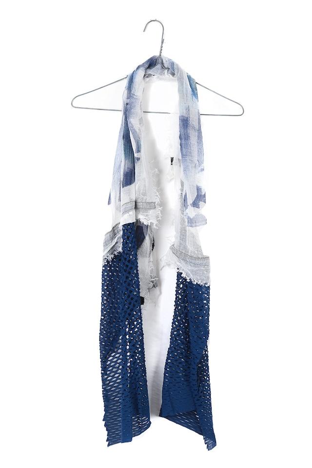 [着るアート]W CORNICE-ROYAL BLUE 【COTTONコットン】ダブルコーニス スカーフハンドペイント w2176[送料/税込]