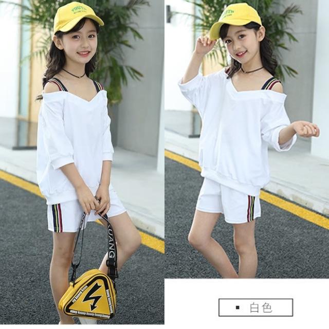 【子供服】 女の子   上下セット 韓国 120 130 140 150 160 お出かけ 通学 可愛い 白