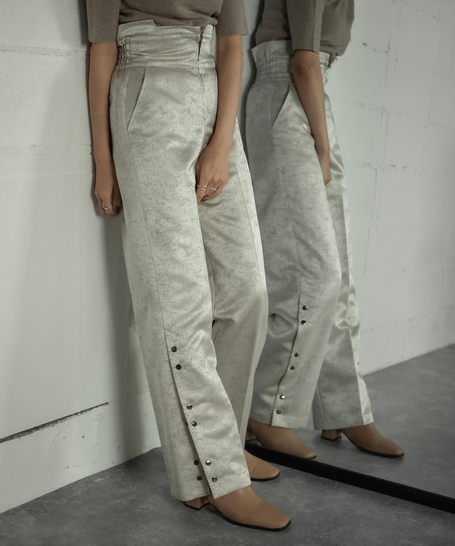 SIDE OPEN JACQUARD PANTS (O.WHITE)
