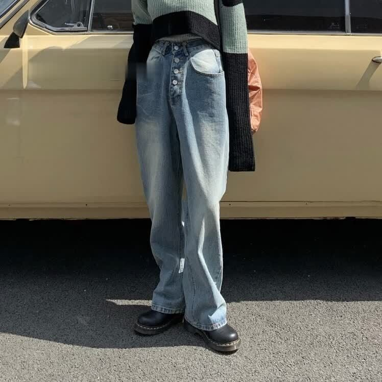 Front button denim pants(フロントボタンデニムパンツ)a-945