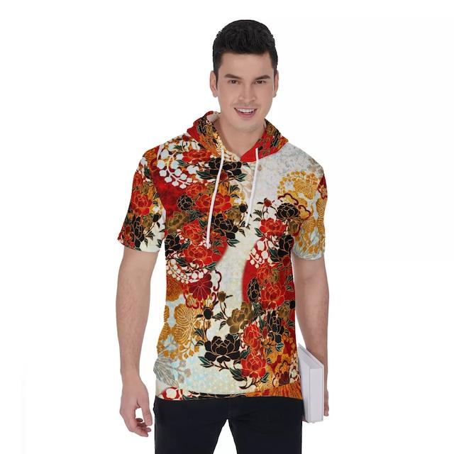 華蝶 ユニセックスパーカーTシャツ