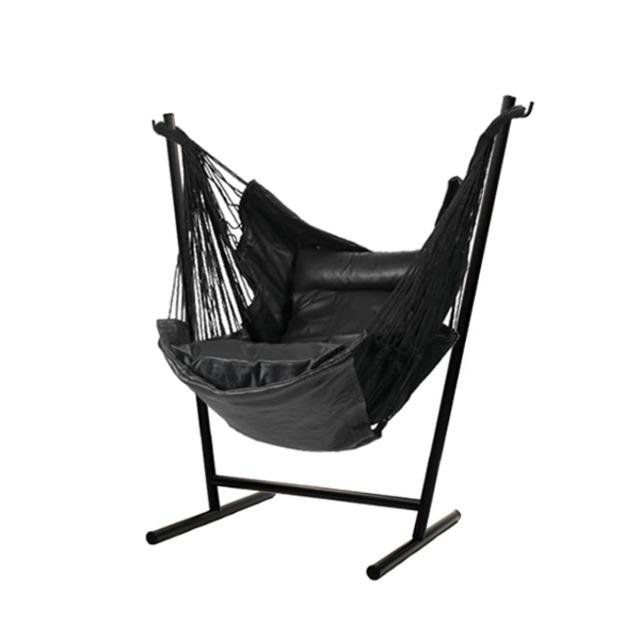 Komforta コンフォルタ 自立式 ハンモック レザー ステンレス黒塗装