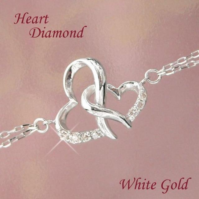 ダイヤモンド ブレスレット ハート 10金ホワイトゴールド レディース k10wg
