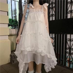 キャミソールワンピース ロリータ服 レース 白 ロリータ衣装 ドレス 可愛い ワンピース フリル 学生 lolita 8604