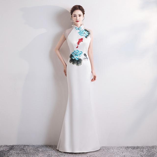 改良型チャイナドレス チャイナ風服 パーティードレス ロングドレス 女子会 二次会 お呼ばれドレス 発表会 大きいサイズ S M L LL 3L 4L チャイナ風ドレス マーメイドライン ホワイト 白い スリム