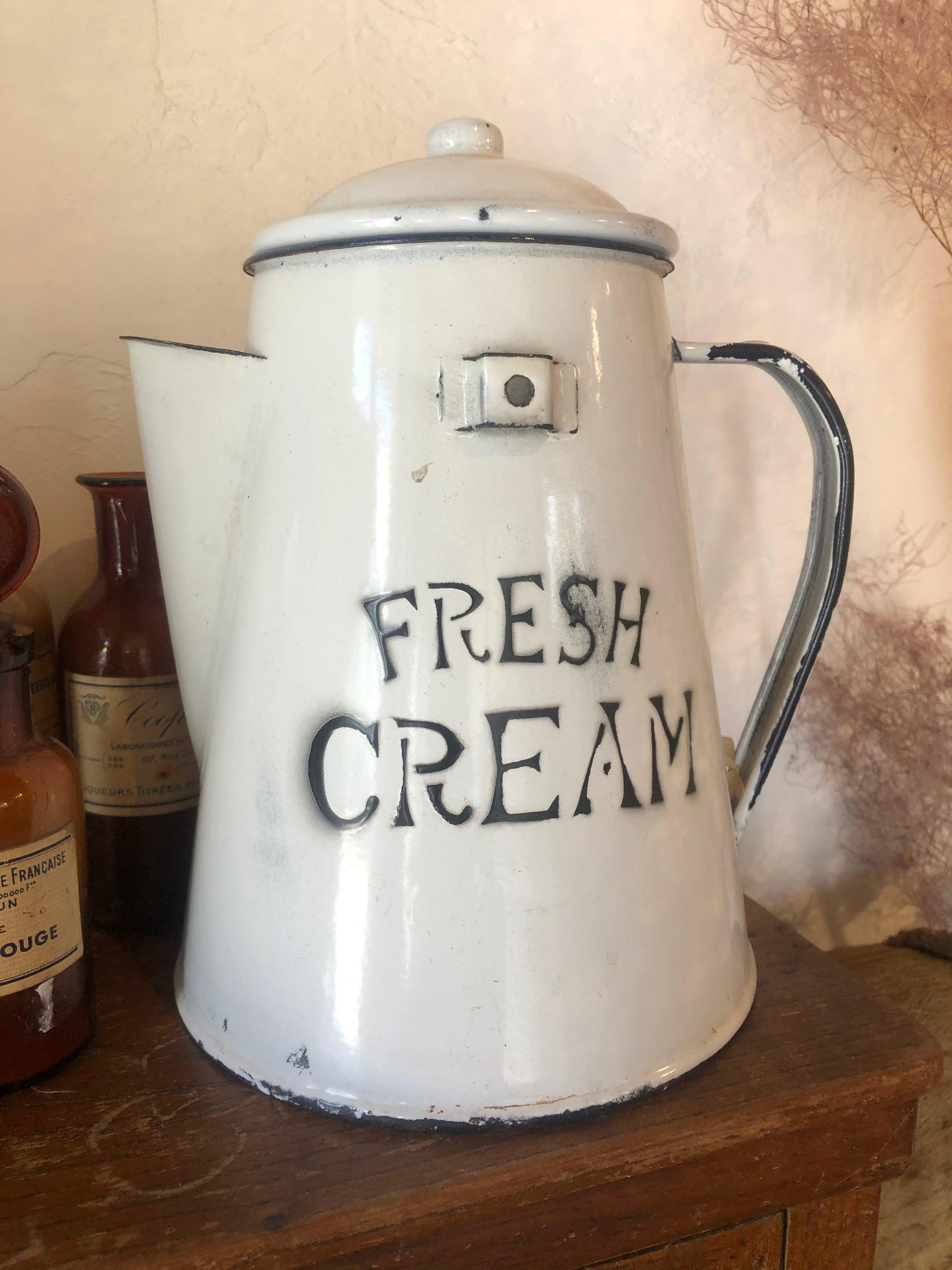 FRESH CREAM ホーローコーヒーポット Vintage Enamel Fresh Cream Pot