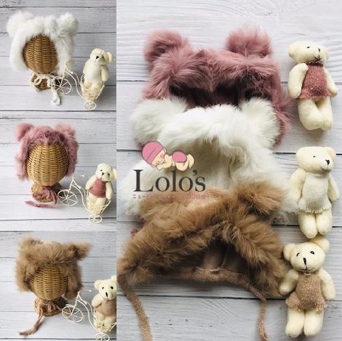 最高のふわふわクマさん帽子&人形set
