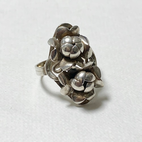Vintage Sterling Double Flower Ring Made In Mexico
