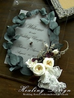 結婚式 ウェルカムボード結婚式 ウェルカムボード(クリアー&ユーカリ&ホワイトローズ)ガーデン リゾート  / 受注製作(クリアー&アンティークホワイトブーケ)ガーデンウェディング リゾート