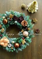 ゴールド&ブラウンの森のクリスマスリース~ミドル