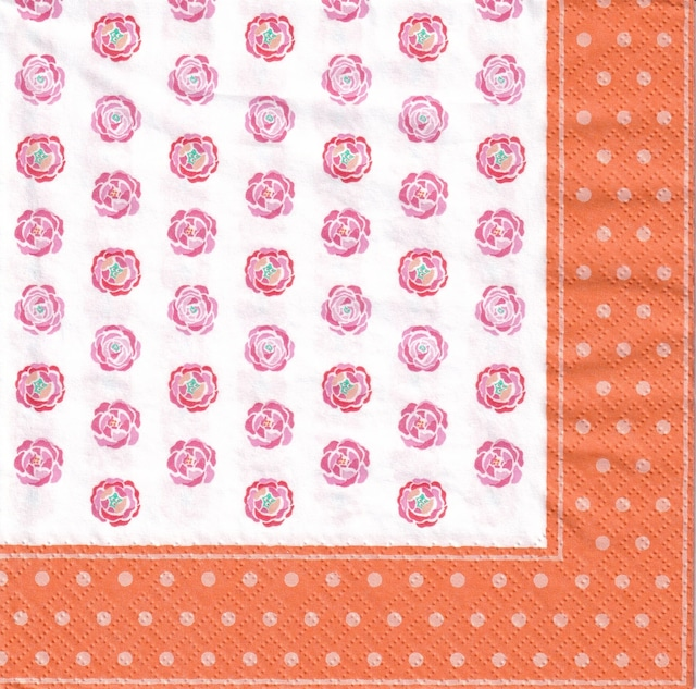【Aimez le style】バラ売り1枚 ランチサイズ ペーパーナプキン ピオニー オレンジ
