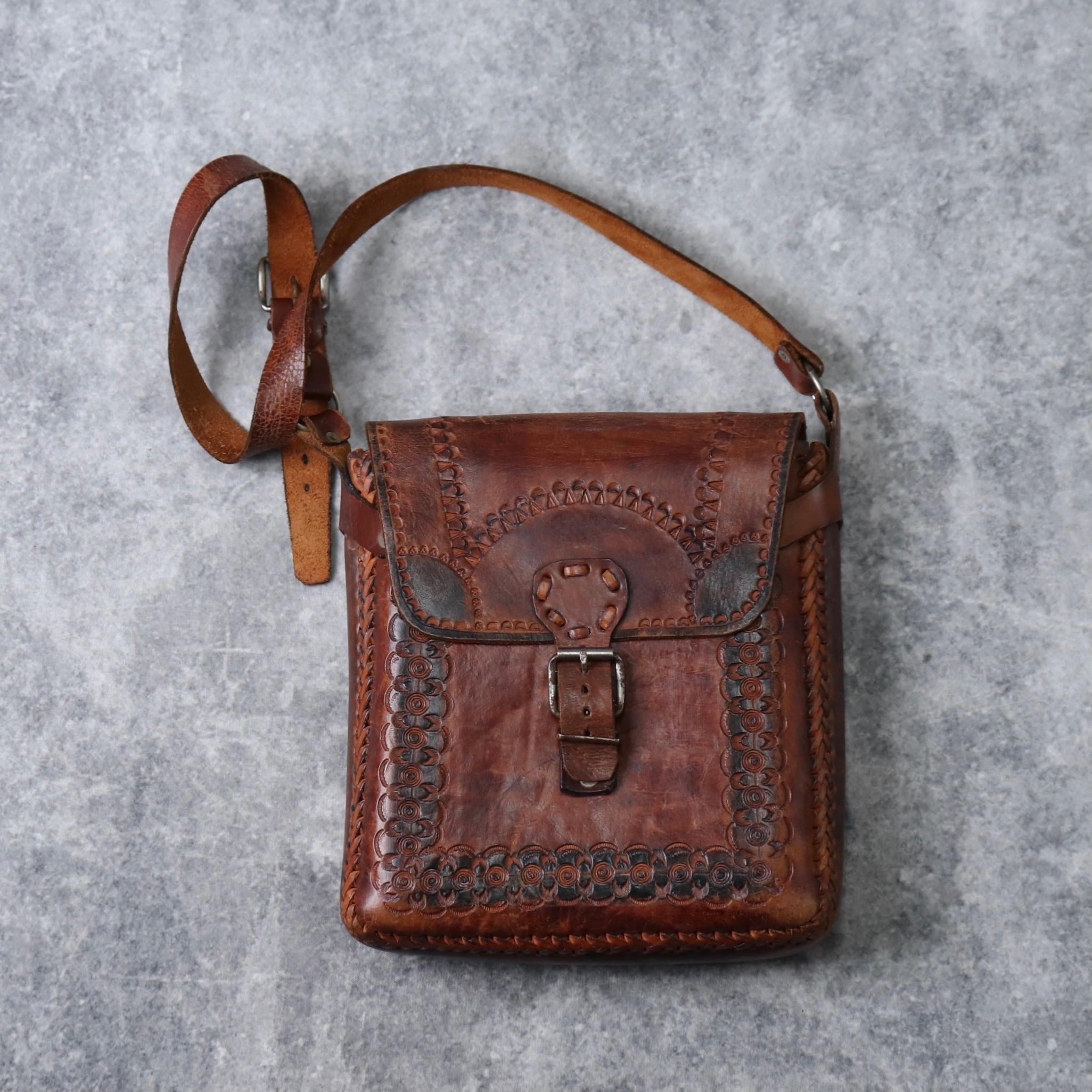 1970s  Old  Leather  Shoulder  Bag  USA A339