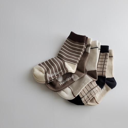 【即納】caramel socks / 5pcs set〔キャラメルソックス / 5足セット〕 rainbow socks
