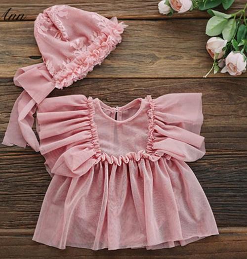 ガーデンピンクのシフォンワンピ&帽子セット♡
