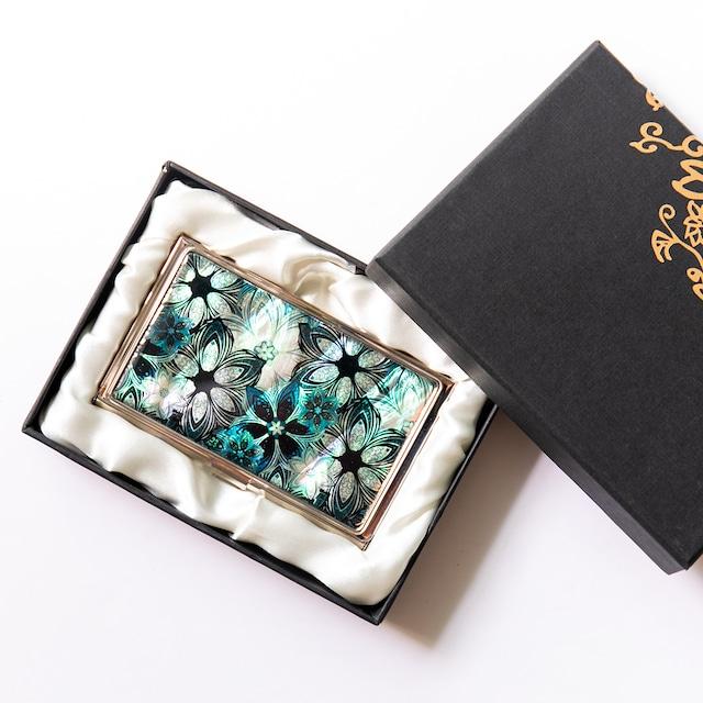 天然貝 名刺カードケース(フラワーパターン)シェル・螺鈿アート|ギフト・プレゼントにおすすめ