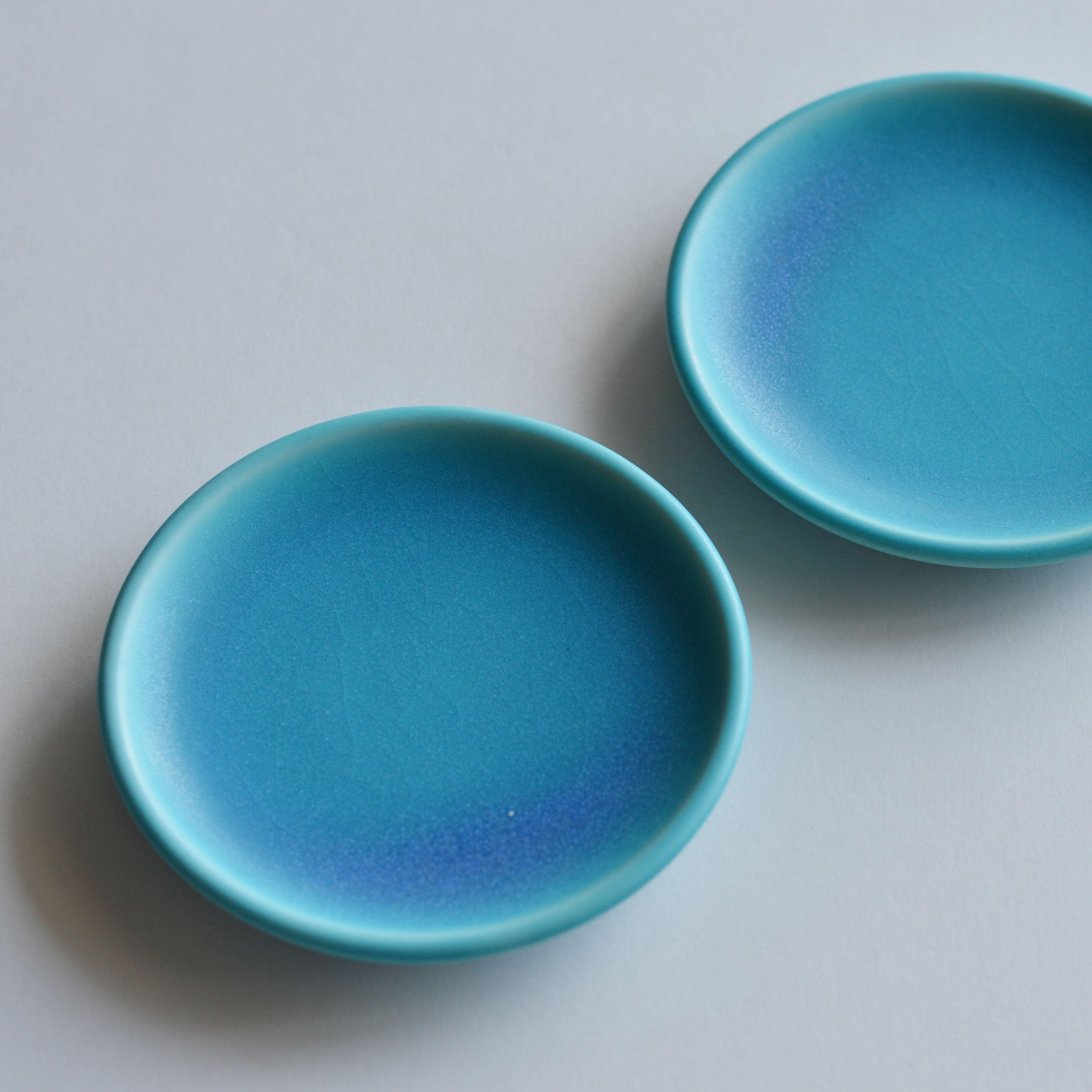 トルコ青  豆皿  琉球工藝