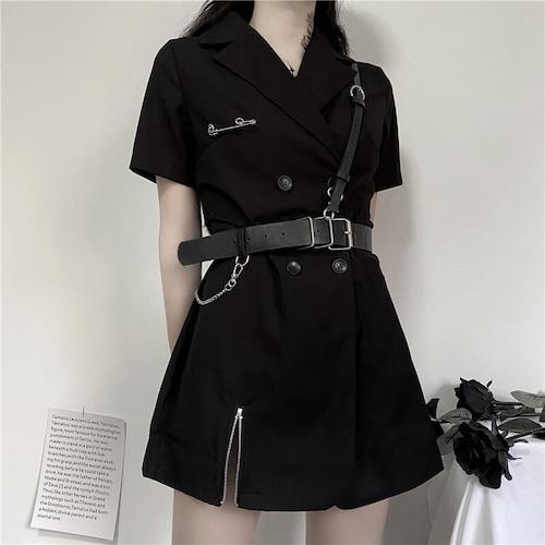 ベルト付き ワンピース シャツ 韓国ファッション レディース ダブルブレスト Vネック ハイウエスト Aライン シャツ丈 シンプル ガーリー 617702303491