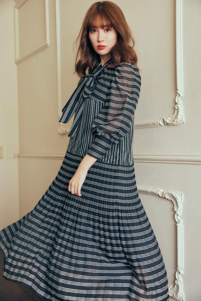 Bow Pleated Long Dress