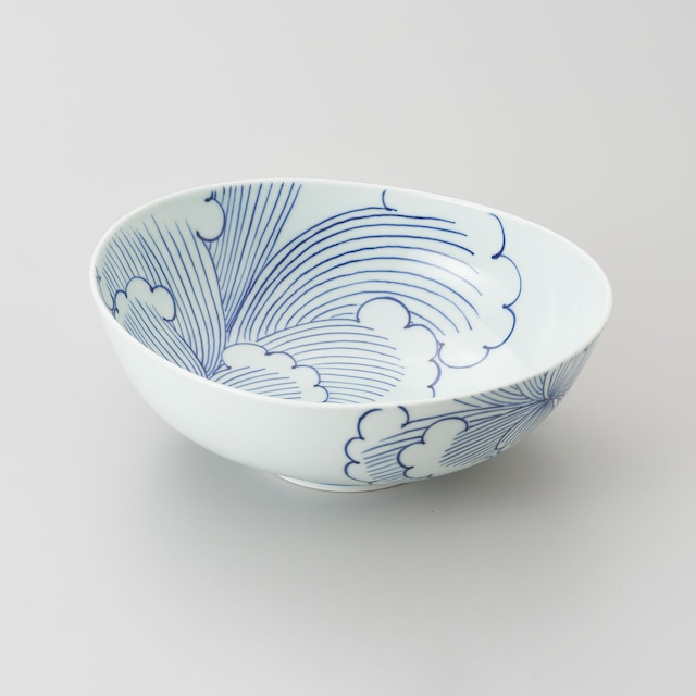 【青花 匠】染付牡丹 楕円盛鉢
