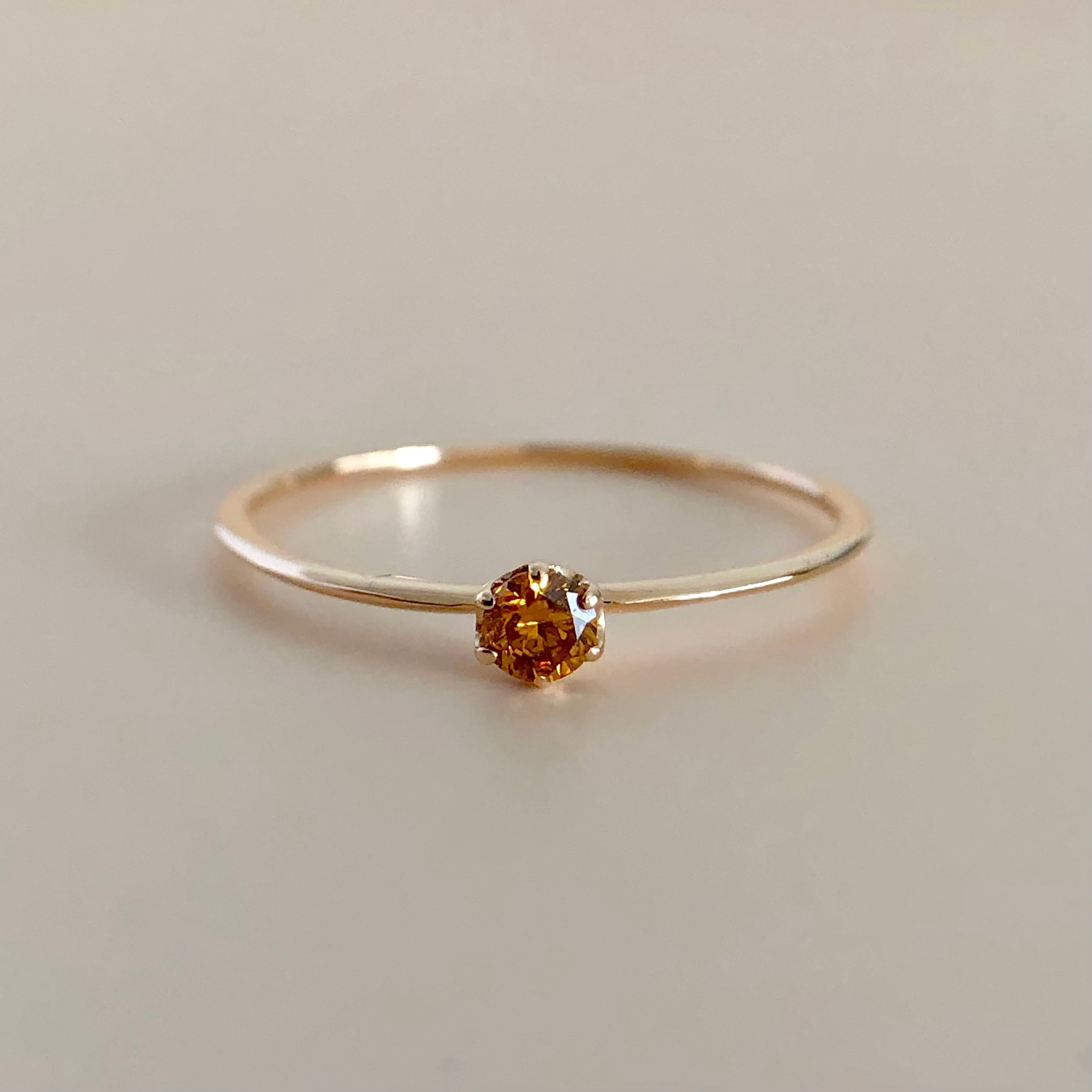 オレンジッシュブラウン ダイヤモンド ミルククラウン リング  0.07ct  K18ピンクゴールド チェカ 鑑別書
