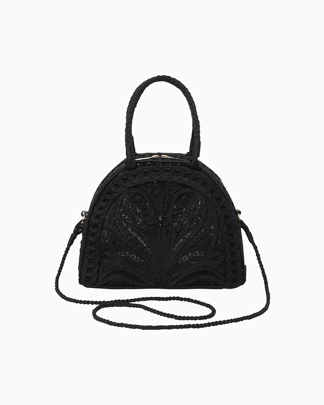 【Mame Kurogouchi】Cording Embroidery Demi Lune Handbag - black MM-AC404
