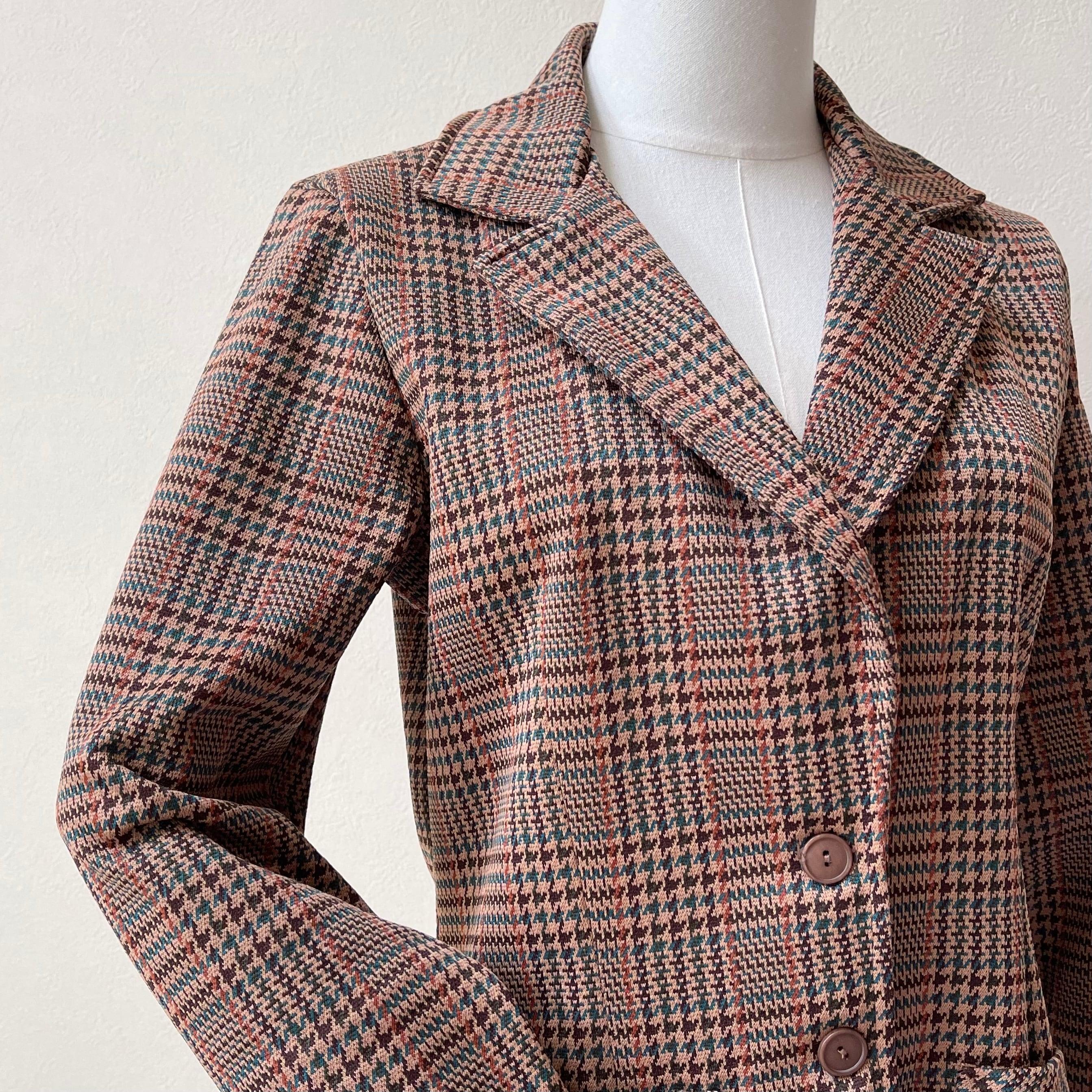 レディース 70〜80年代 チェック柄 テーラードジャケット アメリカ古着 日本M