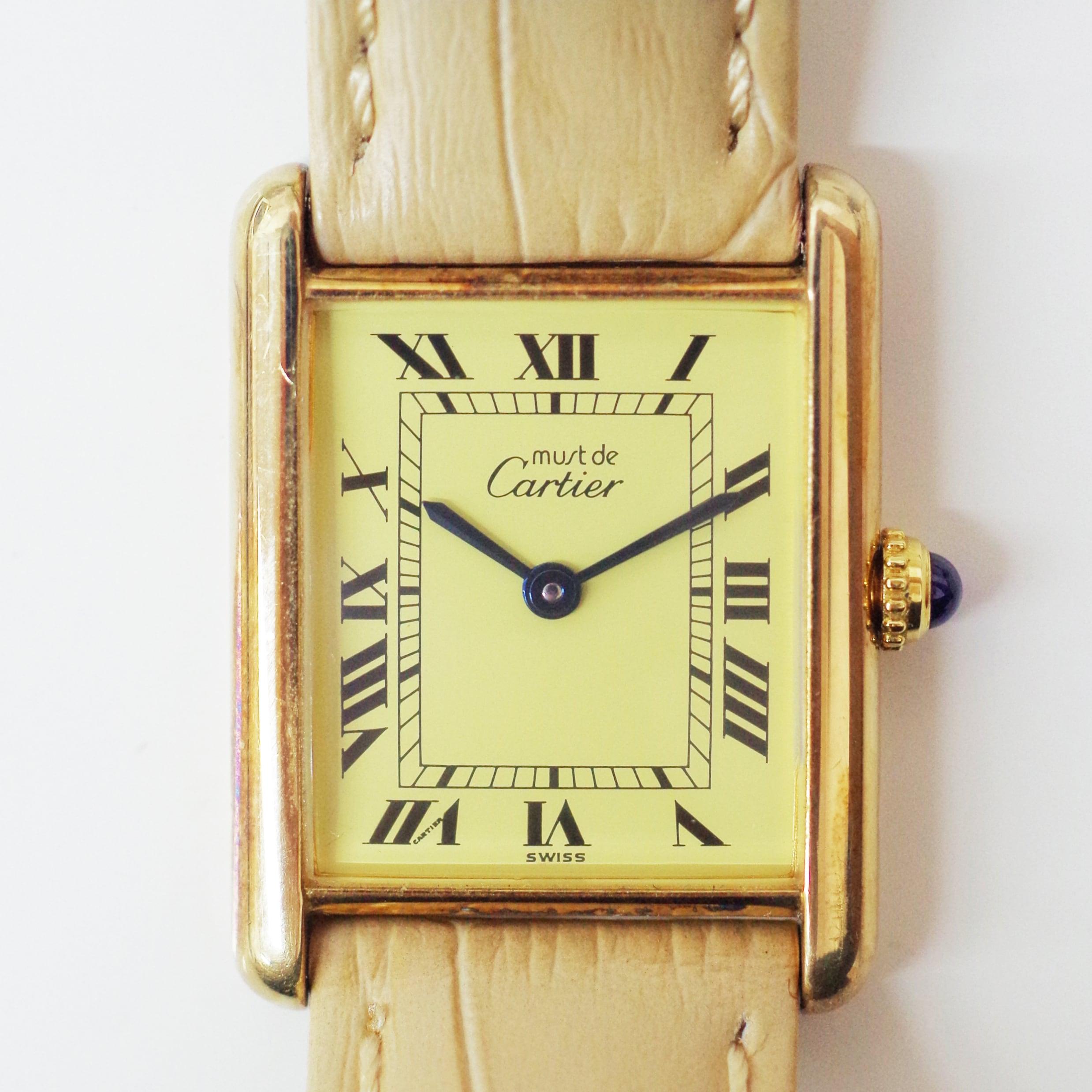 Cartier カルティエ マストタンク ヴェルメイユ クオーツ アイボリー シルバー925 革ベルト 腕時計 レディース