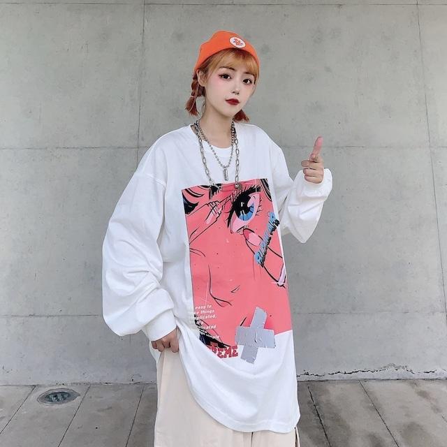 【トップス】秋冬ストリートプリントルーズラウンドネックTシャツ52249468
