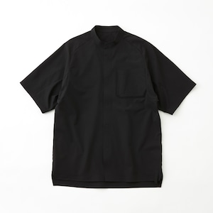 SOLOTEX 4WAY STRETCHED TWILLED TECH HALF SLEEVES SHIRT - BLACK