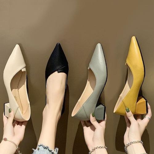 パンプス チャンキーヒール バブーシュ スクエアトゥ 韓国ファッション レディース 潰し履き 靴 痛くない 歩きやすい 疲れない DTC-599533235253