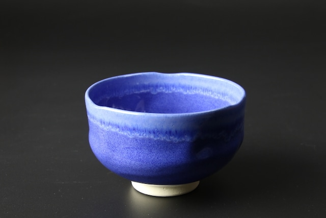 手捻り抹茶碗(青釉) 清水焼