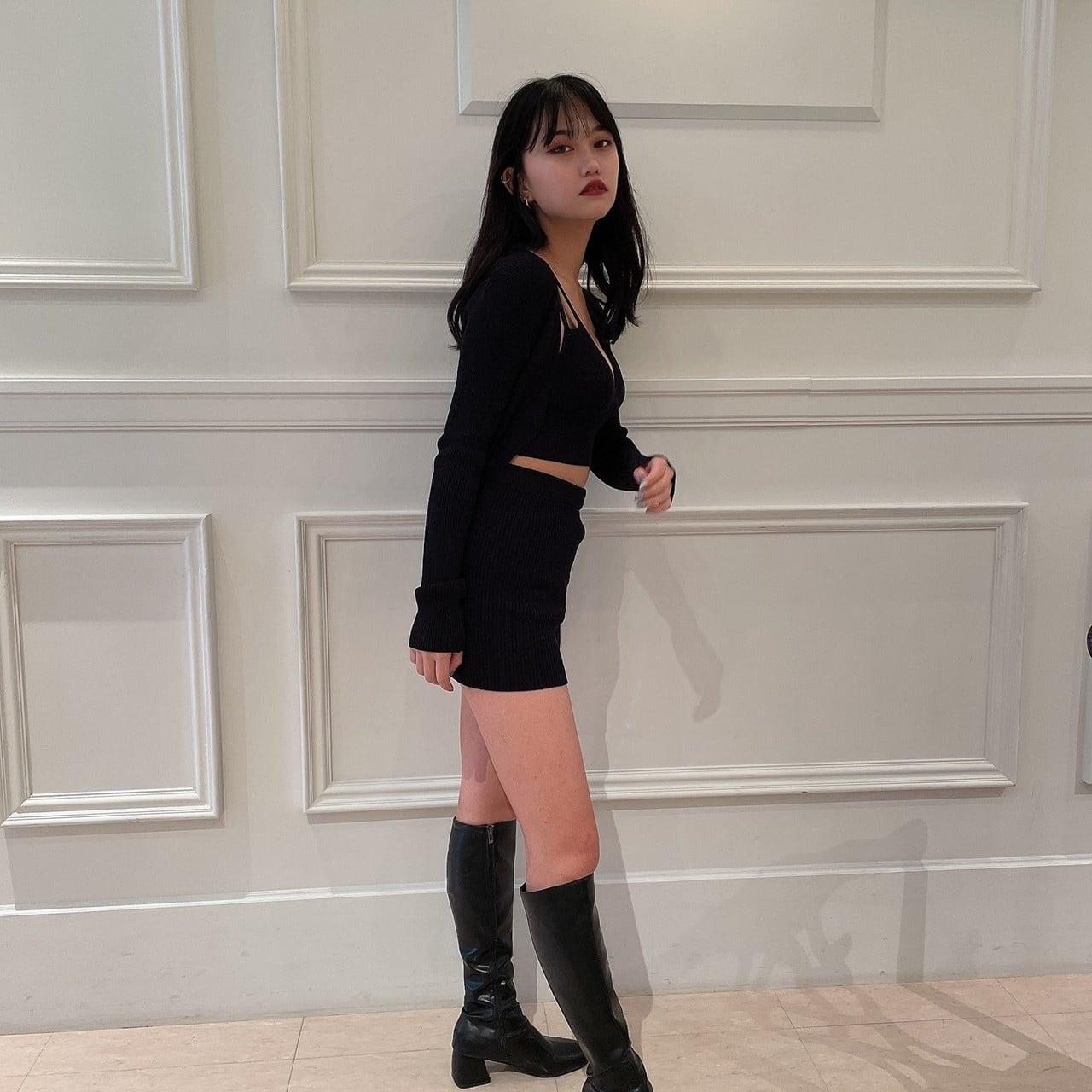 【Belle】knit three piece / black