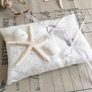 海の星のリングピロー【イタリア製サテン 天然の貝がら】完成品