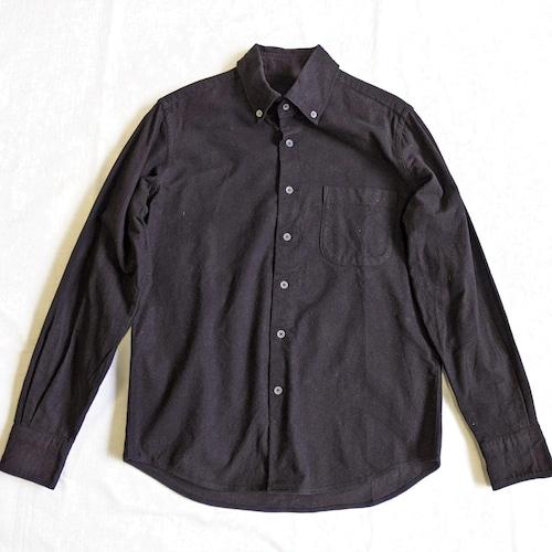 <ツムギラボ>Button down flannel shirt black dye