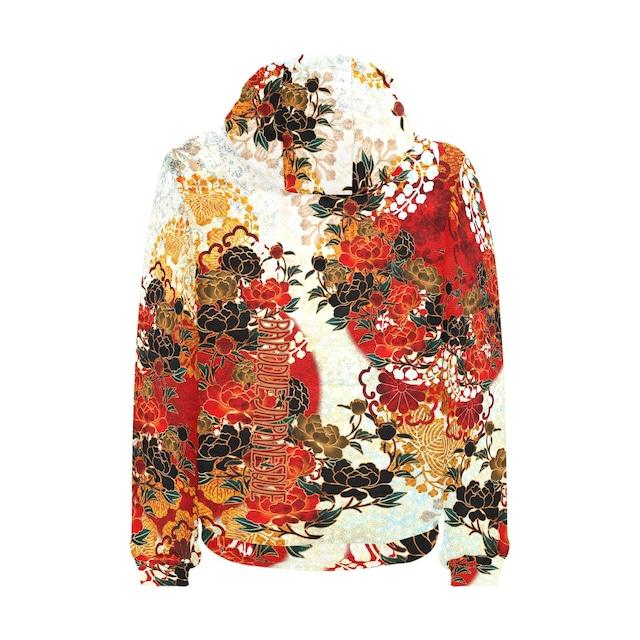 牡丹家紋装飾 紅白 パデッドパーカー メンズサイズ