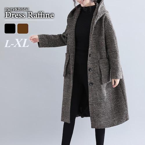 レディース コート アウター フード ロング丈 ブラウン ブラック グレンチェック 大きいサイズ L XL 2XL 冬 通勤 通学