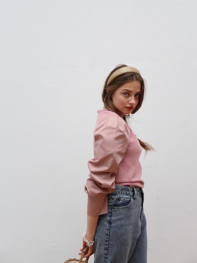 slit sleeve combi blouse(classic rose)