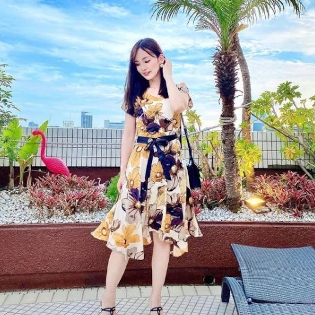 ayumi_kawabata_0822様 ご着用 フラワー シフォン ドレス【R0890】