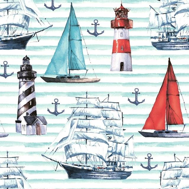 2021秋冬【Maki】バラ売り2枚 ランチサイズ ペーパーナプキン Watercolour Sailing Motifs ブルー
