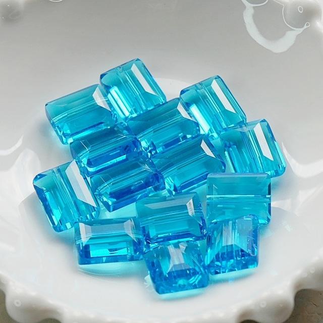 【469p-c1】4pcs  スクエアカット 美ガラスビーズ ブルー 12×9.5mm