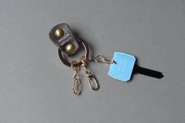 KEY RING・CAP ■ダークブラウンG・パステルブルー■_本革真鍮キーリング・キーキャップセット_ - メイン画像
